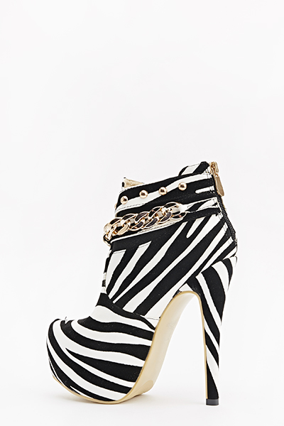 Chain Trim Zebra Heeled Boots