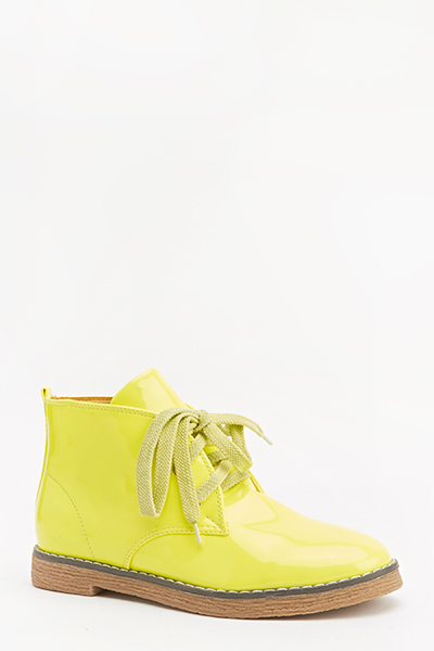 Neon Lace Up Ankle Boots