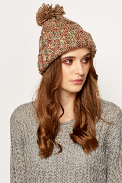 Speckled Brown Knit Beanie