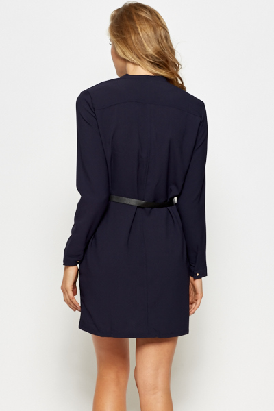 Belted Zip Up Shirt Dress