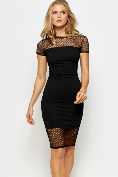 Black Mesh Insert Bodycon Dress - Just £5