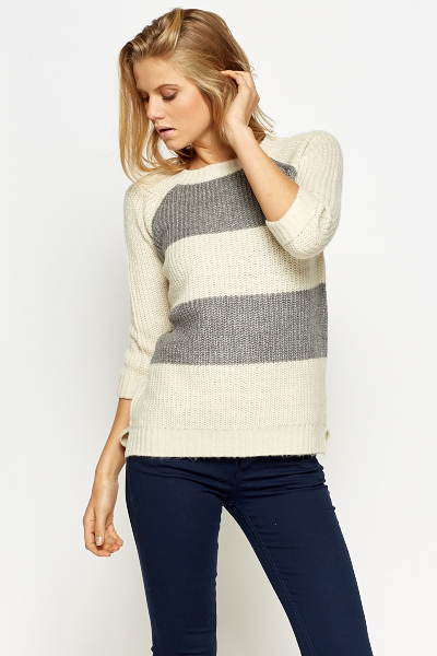 Cream Block Striped Pullover