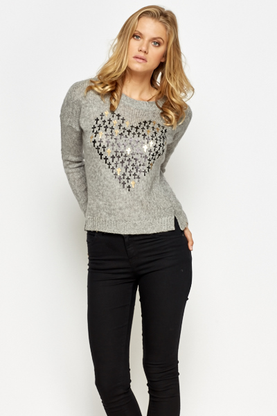 Cross Heart Print Jumper