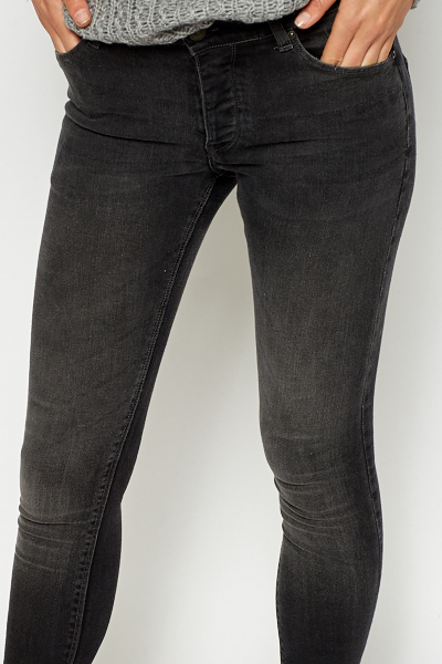 Grey Wash Out Skinny Jeans