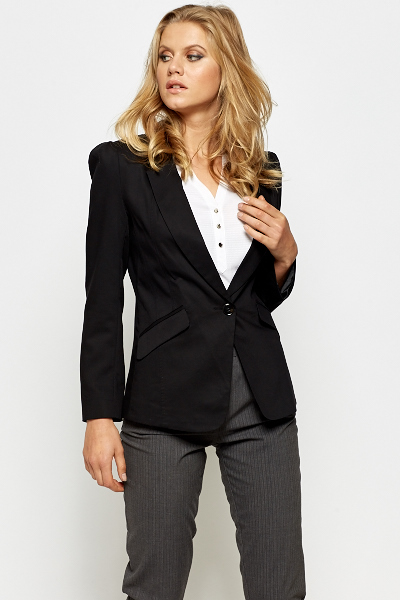 Puff Shoulder Black Blazer
