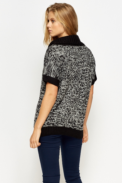 Speckled Cowl Neck Short Sleeve Jumper
