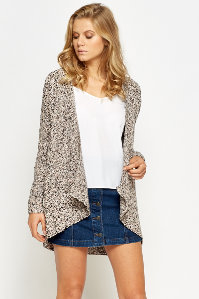 Speckled Open Waterfall Cardigan