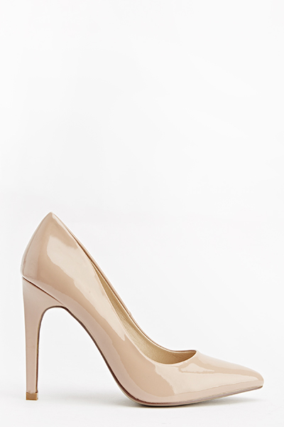 Mid Nude Patent Court Heels - Just £5