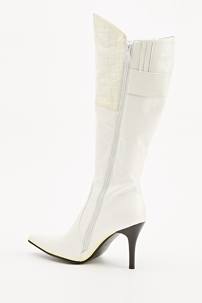 White Mock Croc Panel Heeled Boots