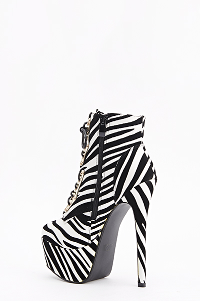 Zebra Print Lace Up Heeled Boots