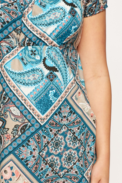 Blue Paisley Mix Print Dress