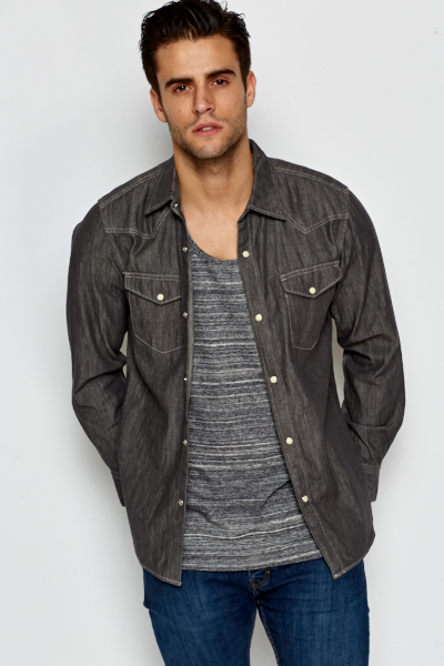 Denim Magnet Button Fastening Shirt