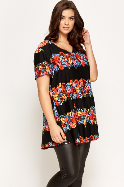 Floral Border Long Top