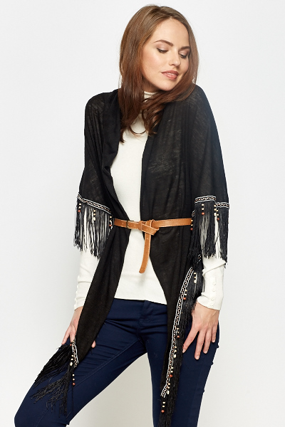 Beaded Tassel Wrap Scarf