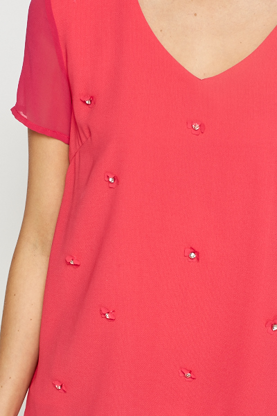 Diamante Embellished Front Blouse