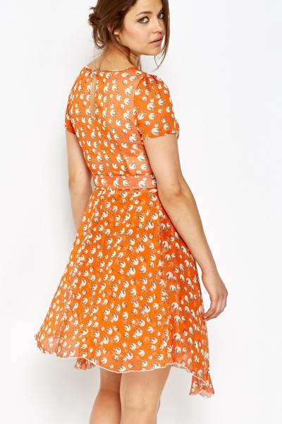 7394f85de Orange Polka Dot Bow Skater Dress - Just £5