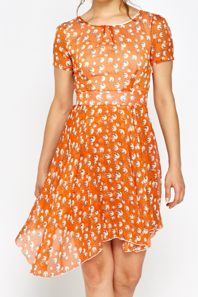 Orange Polka Dot Bow Skater Dress - Just £5 ba35fbecb