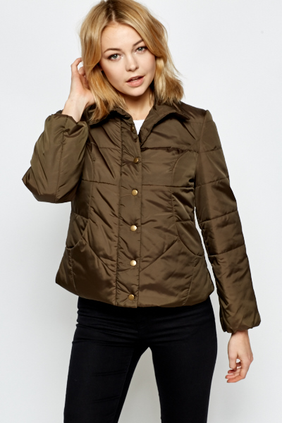 Padded Dark Olive Winter Jacket