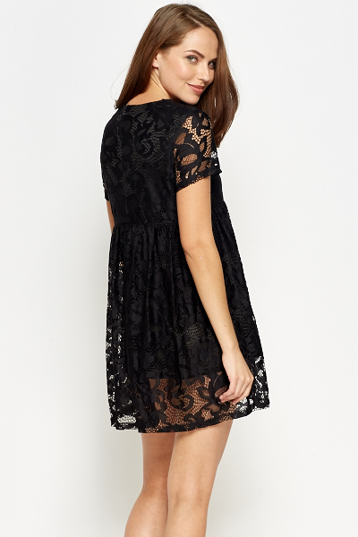 Petite Lace Overlay Skater Dress