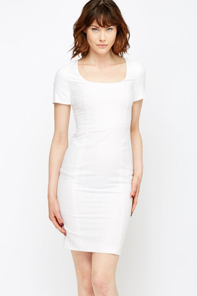 40dd50a5f63 Round Neck Linen White Dress - Just £5