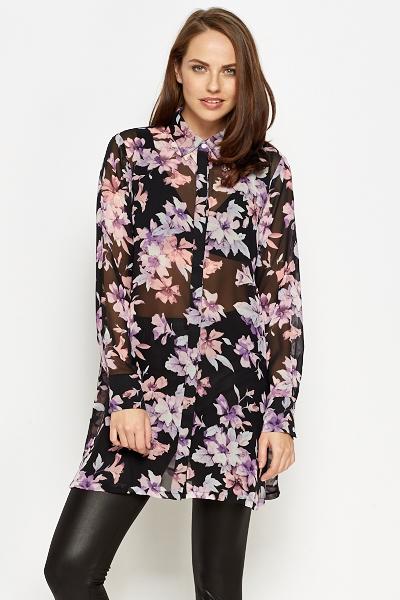 326b18f711d3b Sheer Floral Longline Blouse - Just £5