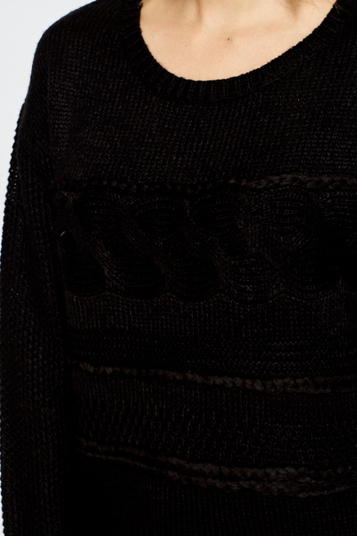Cable Knit Contrast Panel Jumper