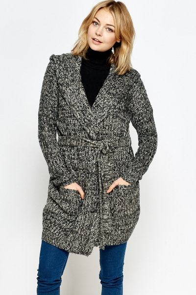Chunky Hooded Knitted Wrap Cardigan