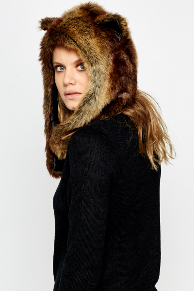 Faux Fur Ears Hood Hat