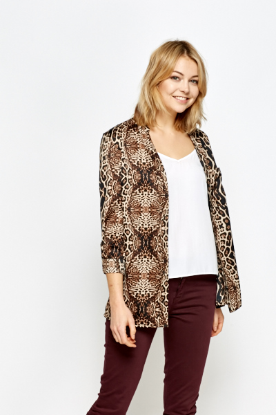 Leopard Print Button Up Blouse
