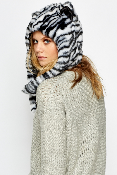 Zebra Faux Fur Hat