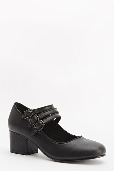 Low Block Heel Triple Strap Shoes - Just $6