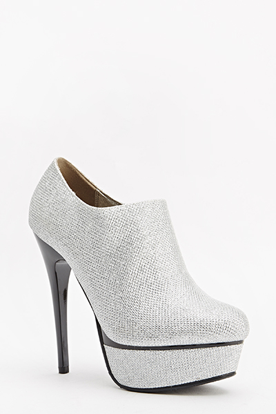 Silver Lurex Ankle Heeled Boots - Just £5