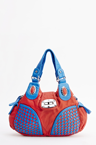 Woven Detail Contrast Slouch Bag