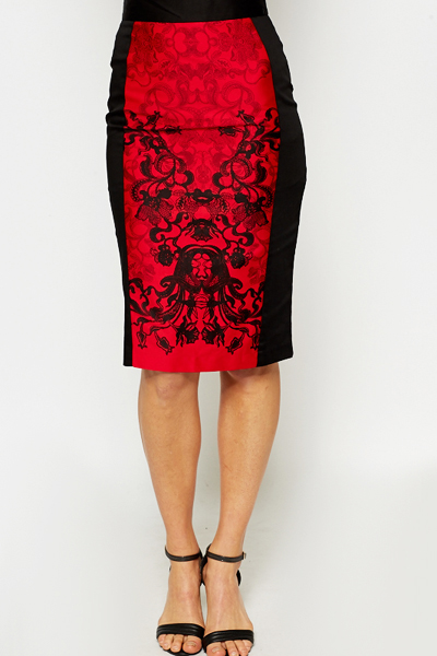772cfd8c34f Red Ornate Panel Pencil Skirt - Just £5