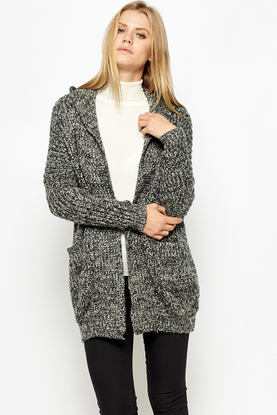 Speckled Long Hooded Cardigan - Just £5