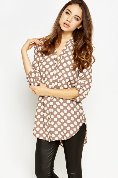Favoriete Polka Dot Dip Hem Blouse - Just £5 &FO87