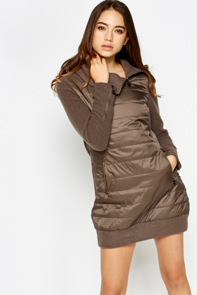 Quilted Panel Jumper Dress