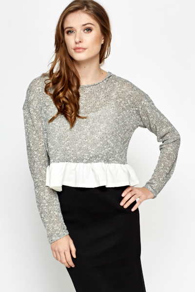 Image of Ruffle Hem Cropped Blouse