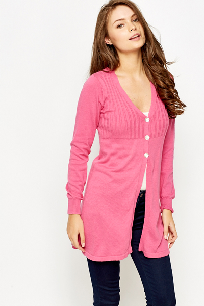 Button Neck Long Line Cardigan - Just £5