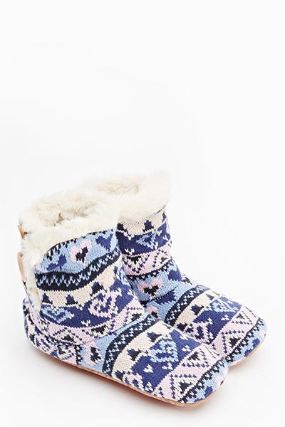 Faux Fur Knit Slipper Boots Just 5