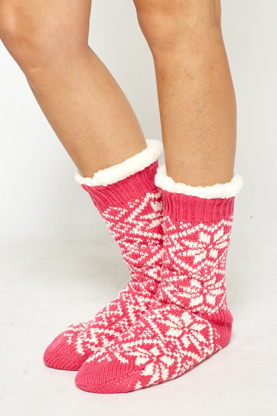 Chunky Knit Slipper Socks Just 5