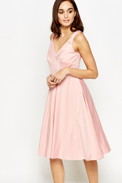 6356c1c91e2e Light Pink V-Neck Skater Dress - Just £5