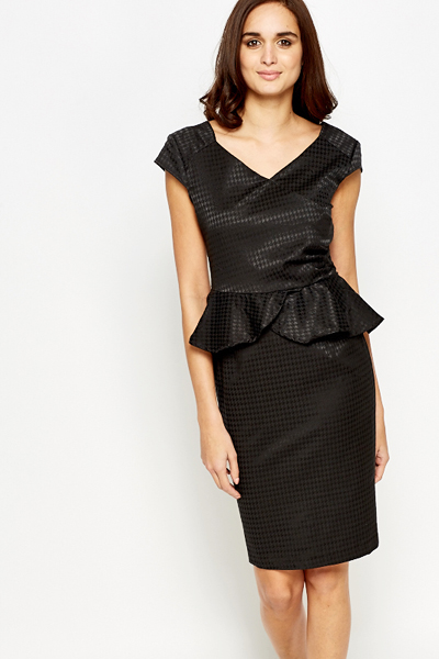 V Neck Peplum Dress