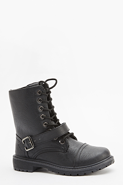 Buckle Front Zip Side Boots
