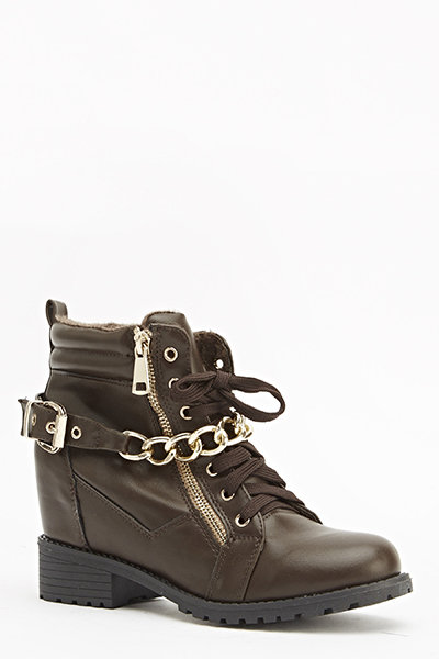 Chain Buckle Wedge Boots