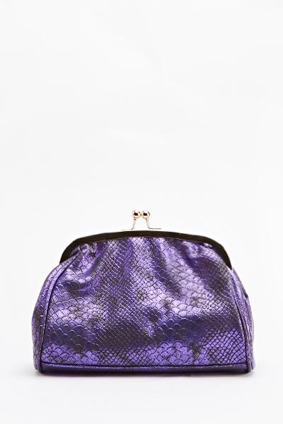 Image of Clip Top Mock Croc Clutch Bag