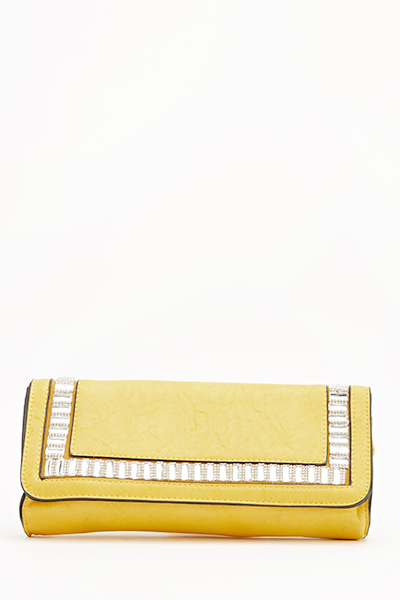 Encrusted Faux Leather Clutch Bag