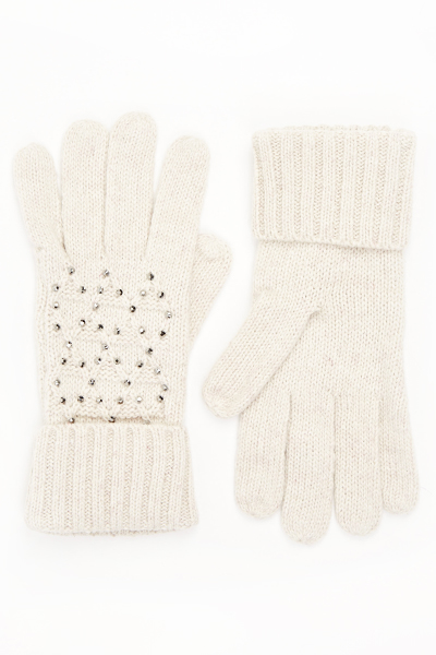 Knit Diamante Front Gloves