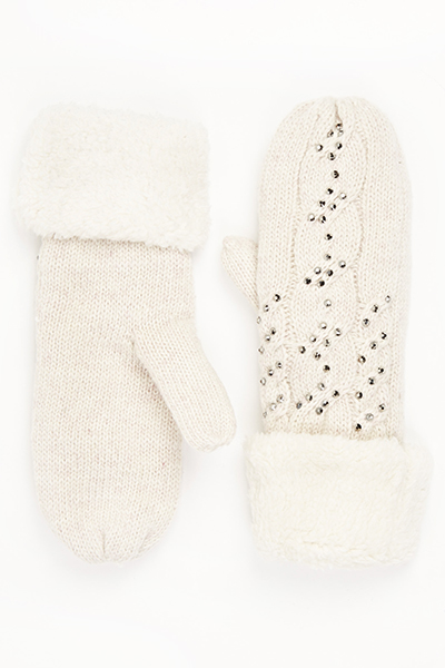 Knitted Diamante Mitt Glove