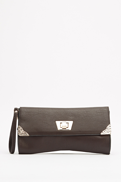 Metallic Rose Detail Clutch Bag
